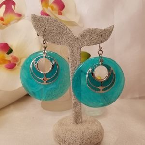 """Fashion Jewelry Jewelry - NWT Turquoise Color drop earrings 2 1/2 """" long"""